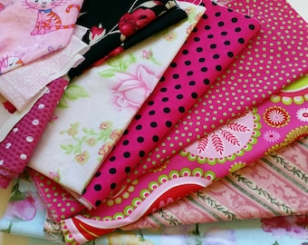 Fabric Scraps - Pink Quilting Fabric - Fabric Remnants #22