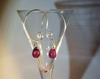 Pink Quartz Earrings, Hoop Earrings, Gemstone Earrings