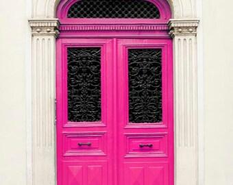 Hot Pink Door, Paris Photography, Black Beige Pink Paris Door Print in Bubblegum Pink 5x7 8x10 11x14