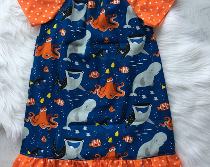 Finding Dory Peasant Dress Birthday Dress Vacation Dress Toddler Baby Girls Dress Princess