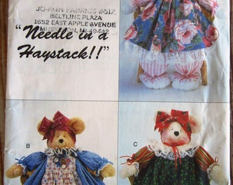 Decorative Bears Country Style Dressed and Clothed Pammy Bears Vintage 1990s Butterick Pattern 3718 UNCUT