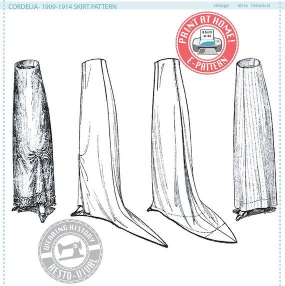 E-Pattern- Cordelia- Circa 1909-1914 Edwardian Skirt Pattern ...