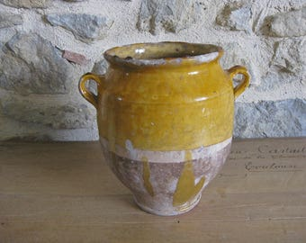 """French confit pot, 19th century """"graisselle"""" ochre glazed terracotta pot for confit de canard"""