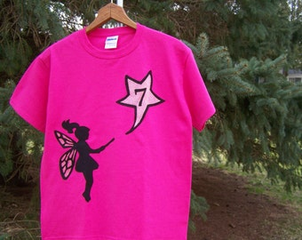 Fairy Magic Birthday Fabric Applique Tshirt Youth Child Kids XSmall 4 5, Small 6 7, Medium 8 10, Large 12 14, XLarge 16 18