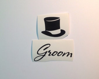 DIY Personalized Top Hat Vinyl Decals/Stickers Ushers Names, Make Your Own Wedding Glasses, Tumblers or Mason Jars