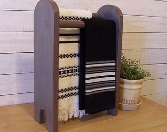 Farmhouse Double Towel Rack Stand Hand Towels Primitive Kitchen Towel Rack Original Design Olde Gray / Color Choice
