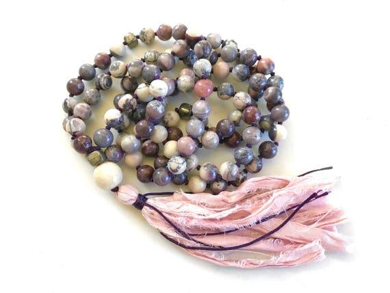 CALM & STABILITY - Mala Beads - Porcelain Jasper Mala Necklace - 108 Beads Mala - Natural Healing Mala Beads - Jasper Mala - Knotted Mala