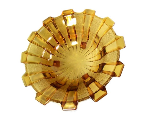 Art Deco Amber Glass Bowl by Stolzle, Czechoslovakia