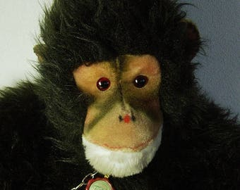 huge vtg 70 Hermann sitting plush monkey Gorilla with tag