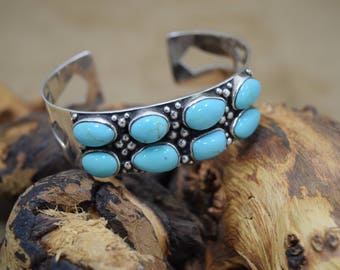 Southwestern Style Faux Turquoise Sterling Silver Cuff Bracelet