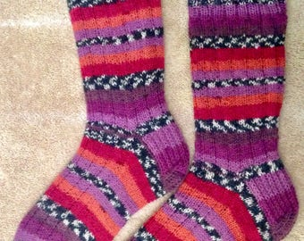 Hand Knit Mens or Womens Wool Socks - Carlton Sock Yarn (S-235)