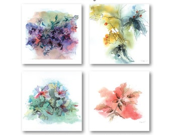 4 x Small Greeting Cards Pack Flower Prints Blank 10cm x 10cm