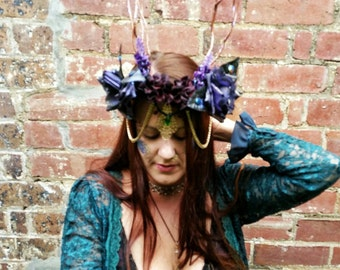 Horned Goddess of the Forest Headpiece, Fairy Crown, Enchanted Faerie Headdress, Floral Headband, Fantasy, Cosplay