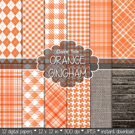Orange gingham digital paper, Orange printable tartan, Orange digital background, Orange digital rhombus, Orange printable invitation paper