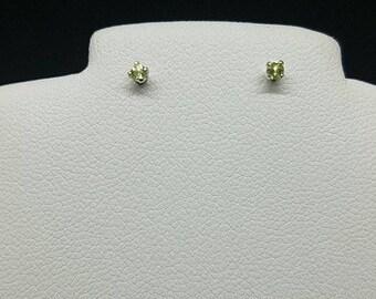 peridot  earrings, peridot studs, peridor jewelry, round peridot studs, rough peridot studs, stud earrings, gemstone stud, 2mm round studs