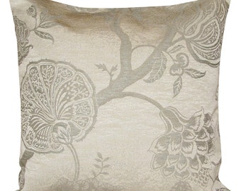 Sanderson Odile Silver & Ivory Cushion Cover