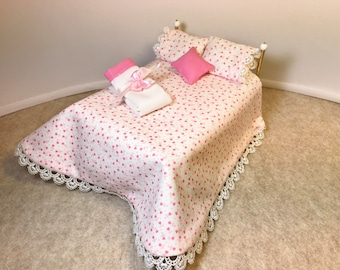 Item #57  1/12 Scale Dollhouse Bedding. Light Pink on White