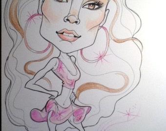 Jenny J Lo Rock Caricature Rock Portrait Music Art by Leslie Mehl Art