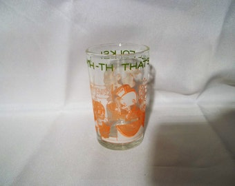 Vintage 1974 Warner Brothers County Fair Juice Glass-Welch's Jelly-Bugs Bunny-Elmer Fudd-Porky Pig