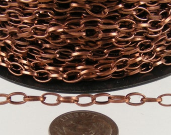100 ft of Antique Copper Finished Drawn Cable Chain - 6.3x3.5mm Unsoldered Link - Bulk Chain Necklace Wholesale DIY Jewelry Chain