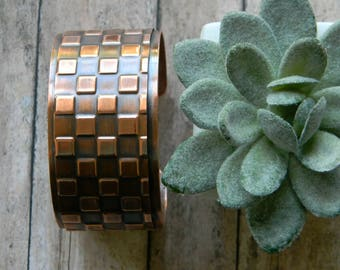Cuff Bracelet Copper Cuff Geometric Handmade Hammered Copper Bracelet Statement Cuff Artisan Copper Cuff 7th Anniversary Gift for Wife