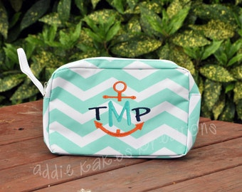 Personalized Mint and White Chevron Accessory Bag / Makeup Bag / Large Pencil Case