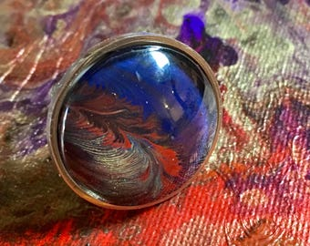 Made with Paint Stainless Steel Adjustable Round Ring in Dark Blue and Bronze