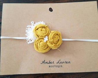 Mustard rosette baby headband, simple baby headband, newborn photography prop, newborn photography, mustard headband, flower girl headband