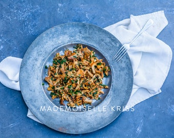 Fried Girolles (Food photography)