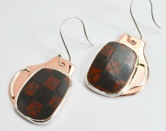 Autumn Patterned Silver & Copper Earrings