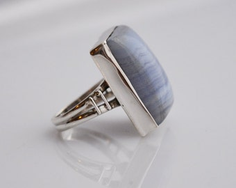 Boho Ring - Blue Lace Agate ring - Bohemian ring - stone ring