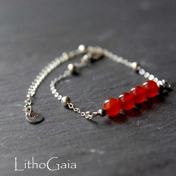 Cornelian Bar Bracelet  or Anklet 925 Sterling Silver, Zodiac birthstone Bracelet, Cornelian jewelry, Cornelian Beads Anklet Gift for Her