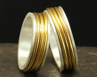 Matching His and Hers Spinner Ring Set Spinning Wedding Band Set 925 Solid Sterling Silver 24K Yellow Gold Vermeil Stress Meditation Rings