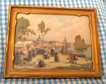 Vintage Print / H. Branoin / French Artist / Vintage Lithograph / Dutch Harbor Scene / Vintage Gold Painted Frame / Gift for Art Lovers