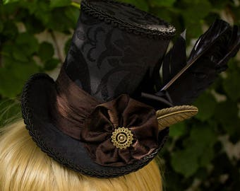 Quillbore, Mini Top Hat - One of a Kind - Steampunk - Topper - Handmade