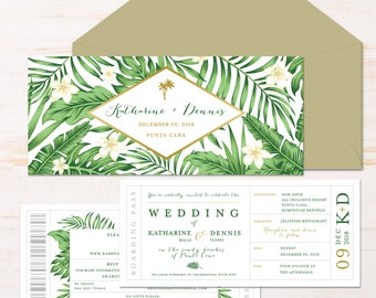 Boarding Pass Destination Wedding Invitation Suite {Tropical Leaves}