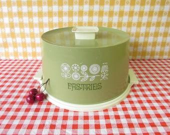Vintage Cake Carrier - Cake Taker - Hard Plastic - Cake Cover - Mod Flowers - Typographic - Picnic - Potluck - 1970's