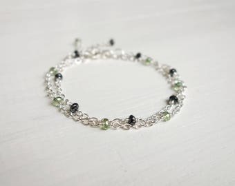Chain bracelets set layered bracelet set green grey beads two bracelets for women