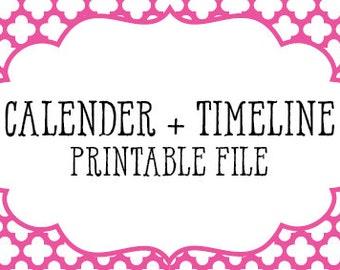 Wedding Timeline Checklist Printable Digital Download |  Wedding Worksheets | Bride Gift | Engagement Gift | Wedding | Groom Gift