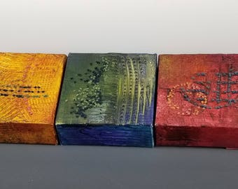 "Triptych Painting on Canvas (3) 4""x4"" with Fiber Stitching ""Planets Collide- Gold, Green, Red"""