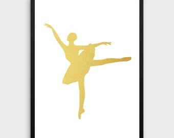 Ballerina Art Print   Gold Foil Print, Ballet Dancer Poster, Dance Art, Gold Foil Ballerina, Ballet Art Work, Nursery Art, Dance Print