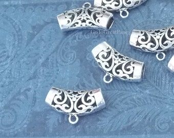 12 Filigree Tube Bails 31mm, Pierced, large antique silver color filagree, curved scarf hole, loop silvertone arched curved filligree 32mm
