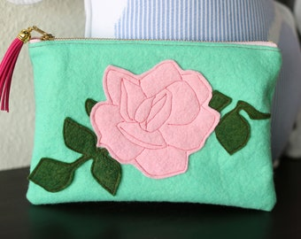 Rose Zipped Clutch Pouch with Tassel for Her