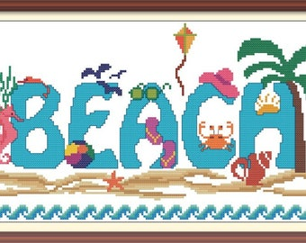 Beach Cross Stitch Pattern PDF Chart Beach Font Pattern Summer Beach Scene