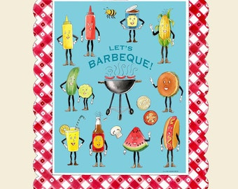 Barbecue Print, Barbeque Print, Retro Barbecue, BBQ, Vintage Food, Retro Food, Grilling, Anthropomorphic, Mid Century, Fun Food,