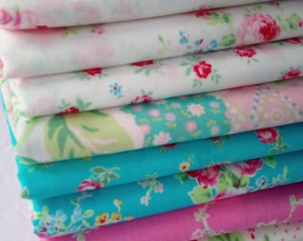 FLOWER SUGAR SPRING Lecien 2015 Fabrics in Aqua, Pink and White ~ 10 Fat Quarters Bundle ~ 2.5 yards total