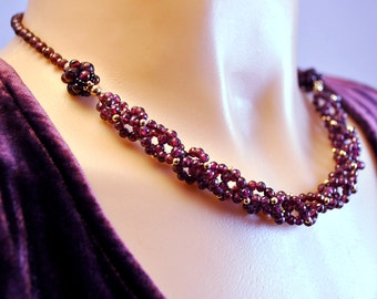 Rhodolite Garnet Necklace in Double Helix Spiral with 14K Gold Filled, Natural Stone Jewelry, Beaded Art, January Birthstone; One of a Kind
