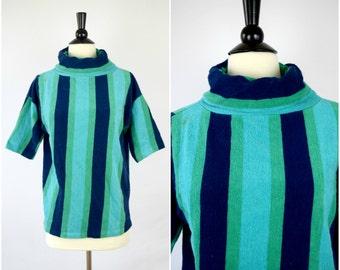 Vintage 1960s bright striped terrycloth turtleneck shirt / retro funnel neck blouse