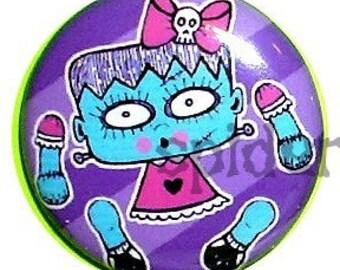 Halloween Buttons 1 inch Frankie Frankenstein Doll Parts Gothic Buttons Goth Pins