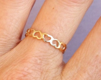 Gold Ring, Heart Ring, Connected Hearts Ring, Band Ring, Love Ring, Friendship Ring, Gold Plated Ring